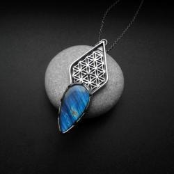 kwiat życia,z labradoytem,biżuteria artystyczna, - Wisiory - Biżuteria
