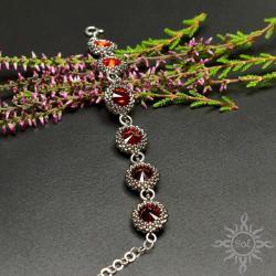 walentynki,srebrna,czerwona,swarovski,elegancka, - Bransoletki - Biżuteria
