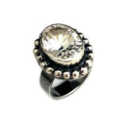 kryształ,górski,srebrny,srebro,szary,retro,blask - Pierścionki - Biżuteria