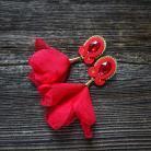 Kolczyki czerwone kolczyki,kolczyki z kwiatami