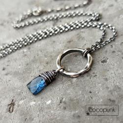 delikatny,komplet,prezent,kianit,srebrny - Naszyjniki - Biżuteria