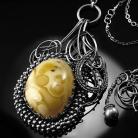 Naszyjniki srebrny,naszyjnik,wire-wrapping,bursztyn,ciba