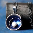 Wisiory srebrny oksydowany wisior z kamieniem naturalnym