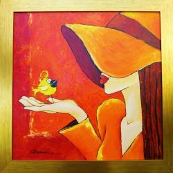 obraz,dziewczyna,kapelusz,kanarek,olej - Obrazy - Wyposażenie wnętrz