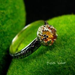 nehesi,pierścień,pierscionek,srebrny,cytrynem - Pierścionki - Biżuteria
