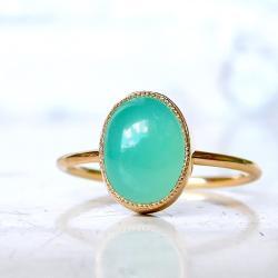 chryzopraz,złoto,pierścionek, - Pierścionki - Biżuteria