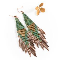 kolczyki indiańskie,boho,zielone - Kolczyki - Biżuteria