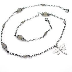 ważka,kamienie,minerały - Naszyjniki - Biżuteria