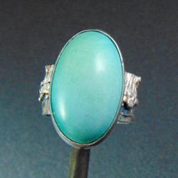 pierścionek srebrny z turkusem - Pierścionki - Biżuteria