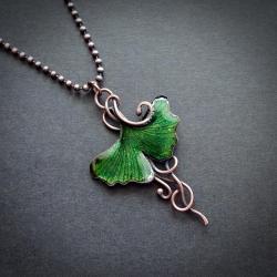 zielony liść ginko naszyjnik - Naszyjniki - Biżuteria