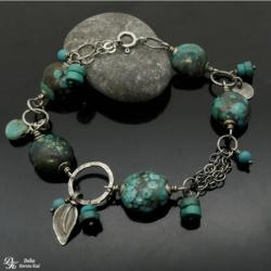 Turkus,naturalny,srebro,unikat,zielona,brąz,surowa - Bransoletki - Biżuteria