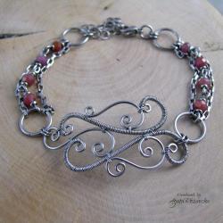 bransoletka,rubin,regulowana,wire wrapping,stal - Bransoletki - Biżuteria