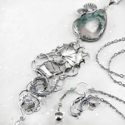 srebrny,naszyjnik,konik,morski,agat,mszysty,ciba - Naszyjniki - Biżuteria