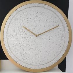 nowoczesny zegar,loft,beton,złoto,biel - Zegary - Wyposażenie wnętrz