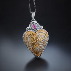 srebrny,naszyjnik,serce,z jaspisem - Naszyjniki - Biżuteria