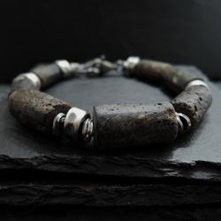 srebro,bursztyn,surowa - Dla mężczyzn - Biżuteria