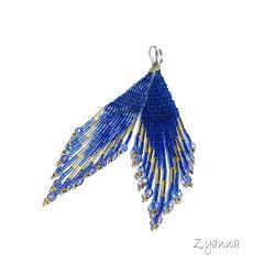 indiańskie,kobalt,złoto,niebieski,kolczyki - Kolczyki - Biżuteria
