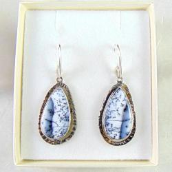 Kolczyki srebrne z opalami dendrytowymi - Kolczyki - Biżuteria