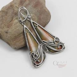 ekskluzywne kolczyki wire wrapping unikalne,jaspis - Kolczyki - Biżuteria