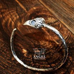 bransoleta z czaszką ptaka,masywna biżuteria - Bransoletki - Biżuteria