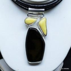 naszyjnik z onyksem,srebro,bursztyn,biżuteria,onyx - Naszyjniki - Biżuteria
