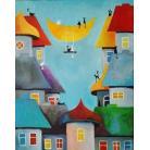Obrazy akryl,miasteczko,koty,domki