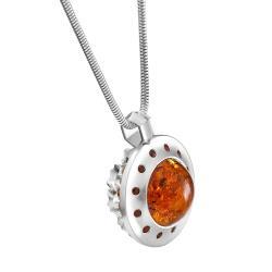 ażurowy naszyjnik,bursztynowy wisior - Wisiory - Biżuteria