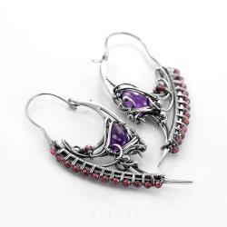 ametyst,kolczyki,wire-wrapping,litori - Kolczyki - Biżuteria