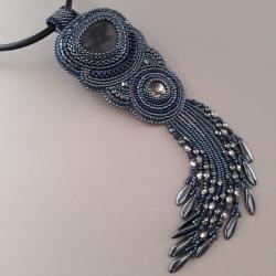 naszyjnik z frędzlami,hematytowy,haft koralikowy - Naszyjniki - Biżuteria