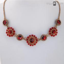Naszyjnik,Rubinowy,czerwony,złoty,kryształowy - Naszyjniki - Biżuteria
