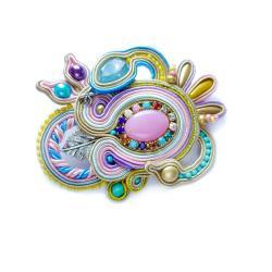 broszka soutache,pastelowa broszka - Broszki - Biżuteria