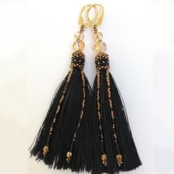 kolczyki,chwosty,czarne,złote,długie - Kolczyki - Biżuteria