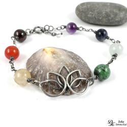 bransoletka,kwiat lotosu,srebro,joga,minerały - Bransoletki - Biżuteria