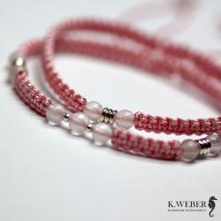wąskie,różowe,bransoletki,różowy kwarc - Bransoletki - Biżuteria