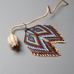 kolczyki indiańskie,z frędzlami,długie - Kolczyki - Biżuteria