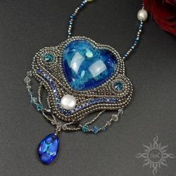 serce,walentynki,srebrny,niebieski,ocean,morze, - Naszyjniki - Biżuteria