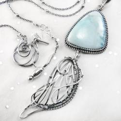 srebrny,naszyjnik,wire-wrapping,ważka,larimar,ciba - Naszyjniki - Biżuteria