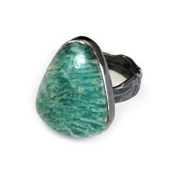 amazonit,srebrny,szary,srebro,pastelowy,zieleń - Pierścionki - Biżuteria