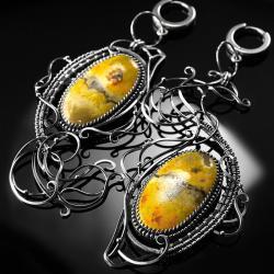 srebrne,kolczyki,wire-wrapping,jaspis,trzmieli - Kolczyki - Biżuteria