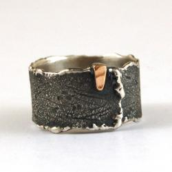 srebrno złota obrączka unisex - Pierścionki - Biżuteria