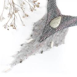 naszyjnik elficki,z labradorytem,z perłami,haft - Naszyjniki - Biżuteria