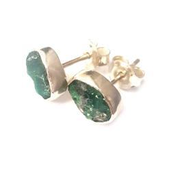 szmaragdy,srebrne,surowe,srebro,sztyfty,retro, - Pierścionki - Biżuteria
