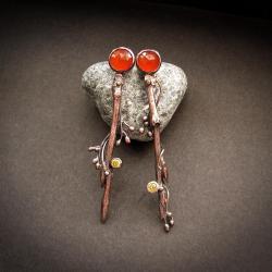 kolczyki gałązki,karneole,naturalna biżuteria, - Kolczyki - Biżuteria