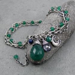 księżyc,łańcuszki,trzyrzędowa,boho,krople - Bransoletki - Biżuteria