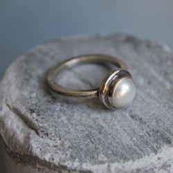 pierścionek srebro perła barok - Pierścionki - Biżuteria