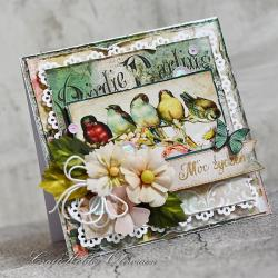 kwiaty,ptaszki,urodziny,imieniny,życzenia - Kartki okolicznościowe - Akcesoria