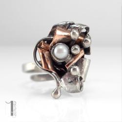 pierścionek srebrny,perła naturalna,regulowany - Pierścionki - Biżuteria