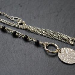 fado,naszyjnik,srebro,czarny turmalin - Naszyjniki - Biżuteria