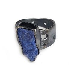 dumortieryt,srebrny,szary,srebro,blask,niebieski - Pierścionki - Biżuteria