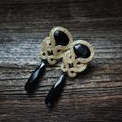 Kolczyki złoto czarne,eleganckie kolczyki